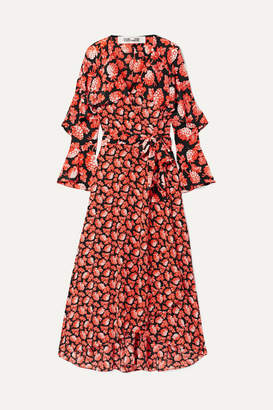 Diane von Furstenberg Isla Ruffled Printed Silk Crepe De Chine Wrap Dress - Papaya