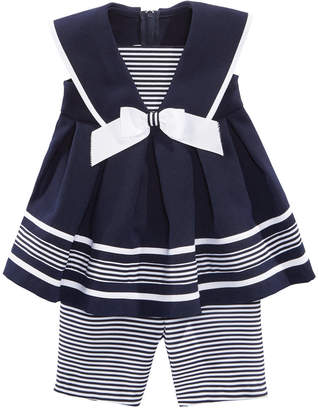 Bonnie Baby Baby Girls 2-Pc. Nautical Tunic & Striped Capri Set