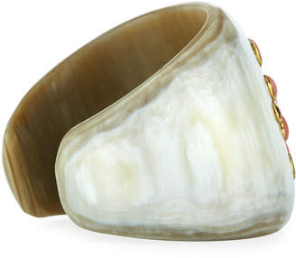Ashley Pittman Tapered Light Horn Cuff w/ Coral