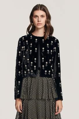 Beulah London Yashila Embellished Velvet Jacket