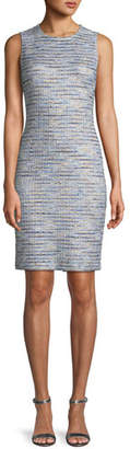 St. John Sleeveless Inlaid Copper Tweed Dress