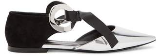 Proenza Schouler D'orsay Leather & Suede Flats - Womens - Black Silver