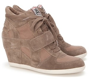 Ash Bowie Suede & Canvas Wedge Sneakers: Sand