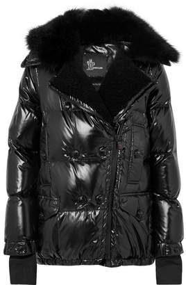 Moncler Seelisberg Shearling-trimmed Quilted Glossed-shell Down Jacket - Black