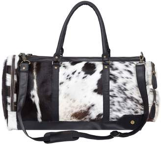 58558242541 MAHI Leather - Leather Columbus Duffle Bag In Black & White Animal Print  Pony Hair