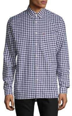 Lacoste Gingham Cotton Linen Button-Down Shirt