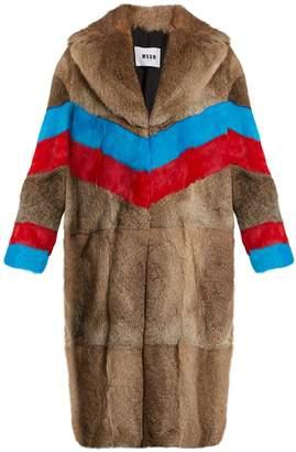 Striped rabbit-fur coat