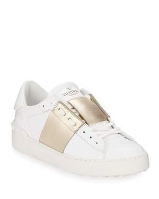 Valentino Open Metallic-Band Sneakers, Bianco/Platinum