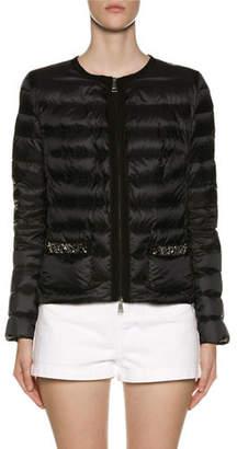 Moncler Cristalline Embellished-Pocket Puffer Jacket