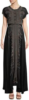Johnny Was Effy Short-Sleeve Ikat-Embroidered Stretch Challis Maxi Dress, Petite