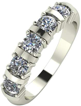 Moissanite 9 Carat White Gold, 1 Carat Bar Set 5 Stone Eternity Ring
