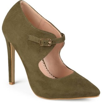 Co Brinley Women's Faux Suede Pointed Toe Cut-out Heels