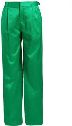 ATTICO High-waist wide-leg satin trousers