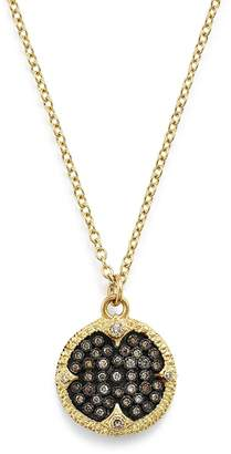Armenta 18K Yellow Gold & Blackened Sterling Silver Old World Pave Champagne Diamond Carved Disc Pendant Necklace, 16