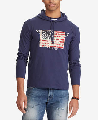 Polo Ralph Lauren Men's Big & Tall American Flag Patch Cotton T-Shirt Hoodie