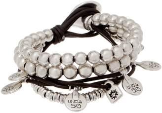 Uno de 50 Unode50 UNOde50 Silvertone Leather Charm Bracelet