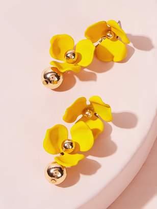 Shein Double Flower Decor Ball Drop Earrings 1pair