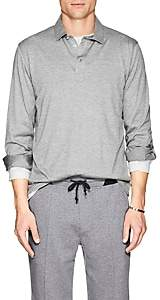 Brunello Cucinelli Men's Cotton-Silk Jersey Long Sleeve Polo - Gray