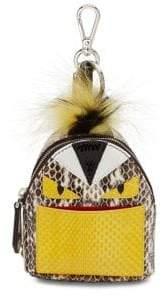 Fendi Mini Monster Snakeskin& Fur Backpack Key Charm