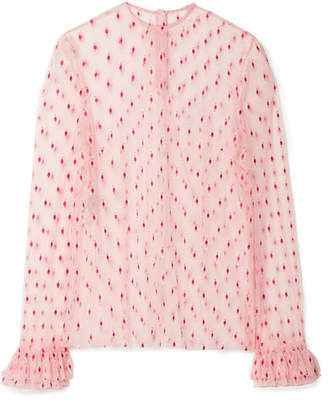 Philosophy di Lorenzo Serafini Ruffle-trimmed Embroidered Tulle Blouse - Blush