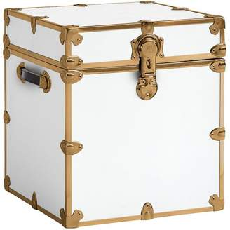 Pottery Barn Teen Vinyl Dorm Trunk, White with Rubbed Brass, Cube
