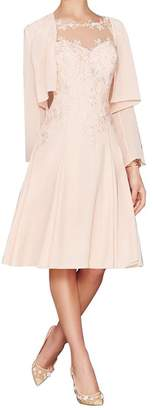 Fitty Lell Women's Chiffon Mother of The Bride Dress with Jacket(US,)