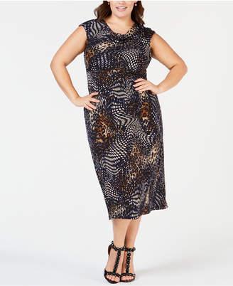 Connected Plus Size Animal-Print Midi Dress