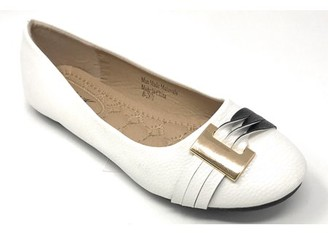 Victoria K. Victoria K Women's Gold Buckle With Two Tone Straps Ballerina Flats