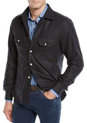 Kiton Men's Cashmere Windowpane Overshirt