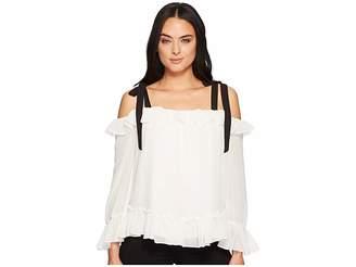 CeCe Long Sleeve Ruffled Blouse w/ Shoulder Ties Women's Blouse
