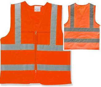 STKUSA 2 Pockets High Visibility Neon Orange Front Zipper Safety Vest with Reflective Strips ANSI ISEA, XXXLarge