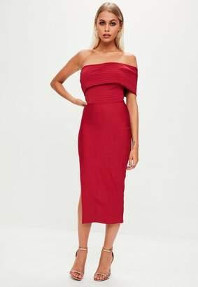 Missguided Red Bandage One Shoulder Split Midi Dress, Red