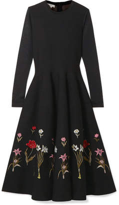 Oscar de la Renta Floral Jacquard-knit Midi Dress - Black