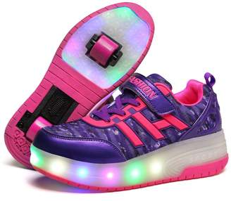 Heelys Unknown Christmas gift KIDS Girls Heelies Wheels SKATE ROLLER SHOES LED Lights Up Retractable ( -)