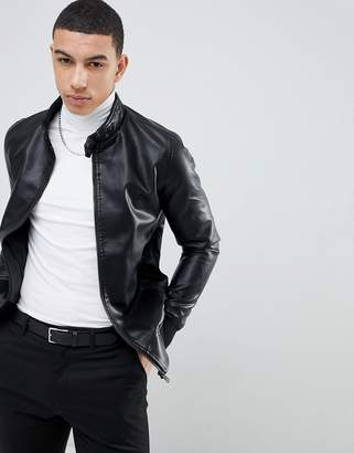 Soul Star Punched Faux Leather Zip Through Jacket