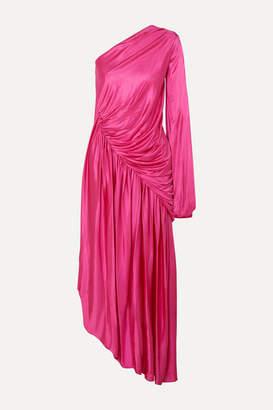 Halpern One-sleeve Draped Asymmetric Stretch-jersey Midi Dress - Pink