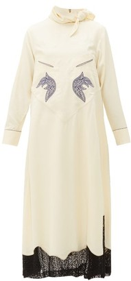 Toga Tie Neck Embroidered Lace Trim Dress - Womens - Ivory