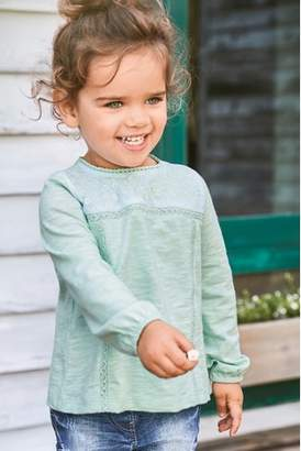 Next Girls Green Embroidered Blouse (3mths-6yrs)