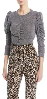 Rebecca Taylor Ruched Metallic 3/4-Sleeve Top