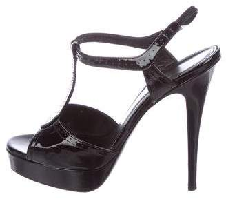 Saint Laurent Patent Leather T-Strap Sandals