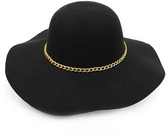 Nollia Women Polyester Felt Wide Brim Floppy Hat With Gold Tone Chain Band a99e1f661d5d