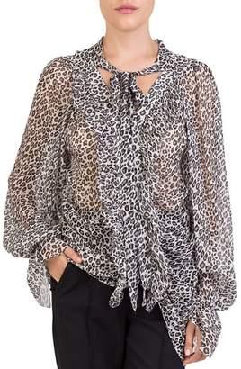 The Kooples Leopard-Print Tie-Neck Blouse