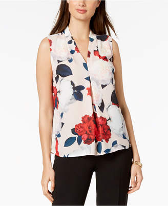 Nine West Printed V-Neck Pleat Shell