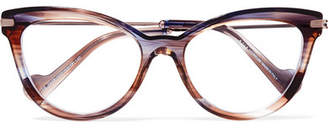 Moncler Cat-eye Tortoiseshell Acetate And Silver-tone Optical Glasses - Purple