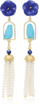 Lapis Of Rare Origin Swingers 18K Yellow Gold Vermeil Turquoise and Pearl Earrings