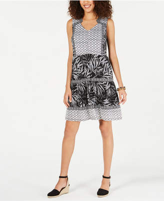Style&Co. Style & Co Mixed-Print Sleeveless Peasant Dress