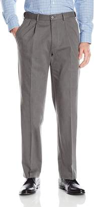Haggar Men's Premium No Iron Classic Fit Expandable Waist Pleat Front Pant