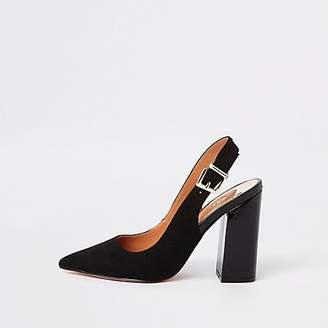 River Island Black block heel slingback court shoes