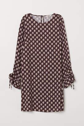 H&M Flounce-sleeved Dress - Pink