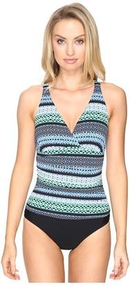 Jantzen Geo Graphic Stripe C/D Cup Over the Shoulder One-Piece $116 thestylecure.com
